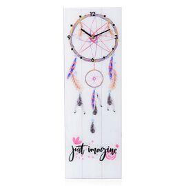 Wall Decor - Dream Catcher Pattern Rectangle Glass Wall Clock (Size 60x20x4 Cm)