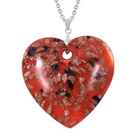 Red Murano Style Glass (Hrt 46x46 mm) Sterling Silver Pendant with 30 Inch Stainless Steel Chain