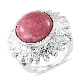 One Time Deal- Norwegian Thulite (Ovl 14mm) Ring in Silver Plated 10.250 Ct.
