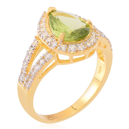 AAA Hebei Peridot (Pear 2.75 Ct), White Zircon Ring in 14K Gold Overlay Sterling Silver 4.000 Ct.