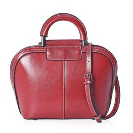 100% Genuine Leather Crossbody Bag with Detachable Shoulder Strap and Zipper Closure (Size 24x11x22