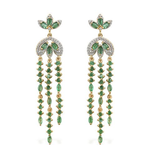 4 Carat Kagem Zambian Emerald and Natural Cambodian Zircon Chandelier Earrings in Gold Plated Silver