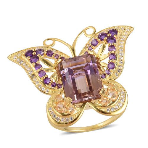 Anahi Ametrine and Multi Gemstone Butterfly Ring in Gold Plated Silver 6.49 Grams,11.58 Ct