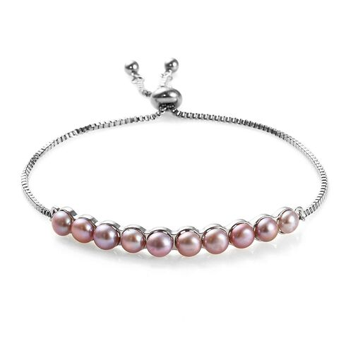 Freshwater Pink Pearl Adjustable Bolo Bracelet in Platinum Plated 6.5 to 9 Inch