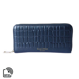 Sencillez 100% Genuine Leather RFID Protected Croc Embossed Wallet (Size 19x2x10cm) - Metallic Green