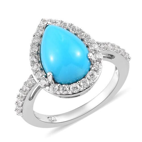 4 Carat AAA Arizona Sleeping Beauty Turquoise and Zircon Halo Ring in Platinum Plated Silver