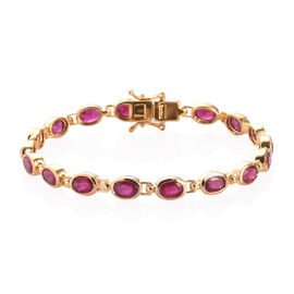 African Ruby Bracelet (Size 7) in 14K Gold Overlay Sterling Silver 8.75 Ct, Silver wt. 9.00 Gms