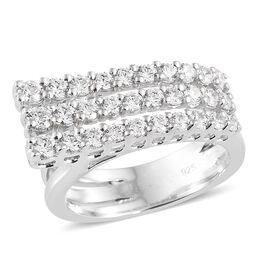 J Francis - Platinum Overlay Sterling Silver (Rnd) Multipe Layer Ring Made with SWAROVSKI ZIRCONIA,