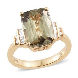 ILIANA 18K Yellow Gold AAA Turkizite (Cush 5.35 Ct), Diamond (SI/G-H) Ring 5.500 Ct.