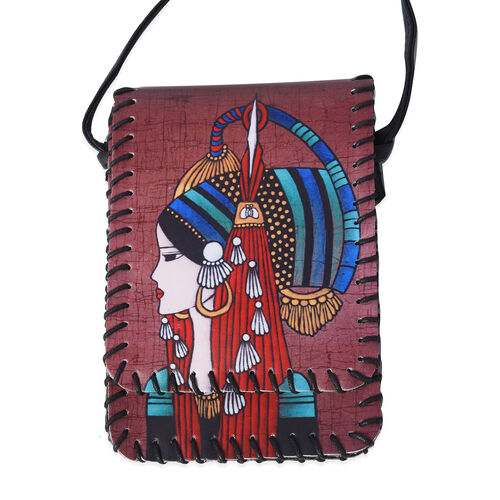 Water Resistant Woman Print Sling Bag with Button Closure (Size 12.5x18cm) - Red
