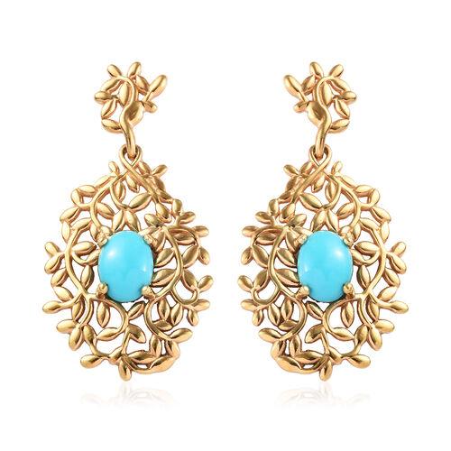 2 Carat Arizona Sleeping Beauty Turquoise Vine Drop Earrings in Gold Plated Sterling Silver