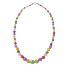 Multi Colour Jade (Rnd 4-14 mm) Graduated Necklace (Size 20) in Rhodium Overlay Sterling Silver with