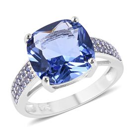 Simulated Tanzanite (Cush 11x11 mm), Ring in Rhodium Overlay Sterling Silver