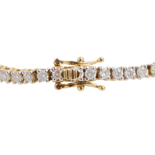 New York Close Out 14K Yellow Gold Diamond (Rnd) (I2/G-H) Bracelet (Size 7.5) 4.00 Ct, Gold wt 11.00 Gms.