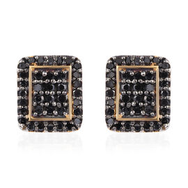 Black Diamond (Rnd) Stud Earrings (with Push Back) in 14K Gold Overlay Sterling Silver 0.500 Ct.