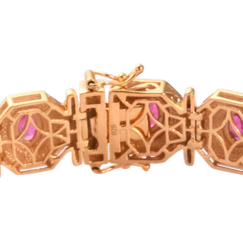 African Ruby Enamelled Bracelet (Size 7.5) in 14K Gold Overlay Sterling Silver 9.00 Ct, Silver wt 25.00 Gms