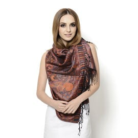 100% Superfine Silk Filigree Pattern Burnt Orange and Multi Colour Jacquard Jamawar Scarf with Fring