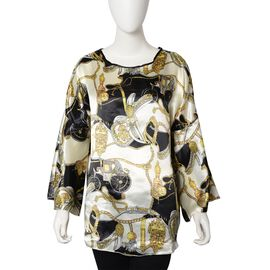 White and Black Colour Abstract Pattern Apparel (Size 70x55 Cm)