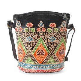100% Genuine Leather Handmade Printed Shoulder Bag with Zip Closure (Size 19x18 Cm) - Black and Mult