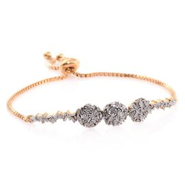 New Concept - Designer Inspired - Firecracker Diamond (Bgt) Bolo Bracelet (Size 6.5 to 8) in 14K Gold Overlay Sterling Silver 0.760 Ct. Silver wt 6.00 Gms.
