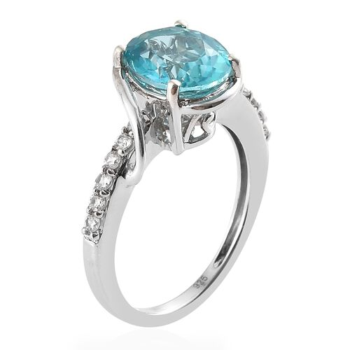 Signity Paraiba Topaz (Ovl 3.25 Ct), Natural Cambodian Zircon Ring in Platinum Overlay Sterling Silver 3.500 Ct.