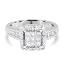 NY Close Out 14K White Gold Diamond (SI-I1/G-H) Ring 1.01 Ct.