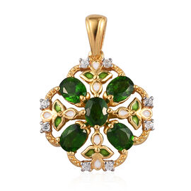 Russian Diopside and Natural Cambodian Zircon Pendant in 14K Gold Overlay Sterling Silver 2.25 Ct.