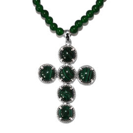 77.25 Ct Malachite and Green Agate Beaded Cross Pendant with Beads Chain in Platinum Plated 20 Inch
