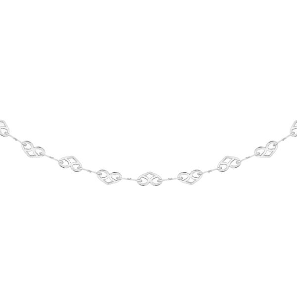 Sterling Silver Heart Link Chain (Size 16) with Lobster Clasp, Silver wt 3.50 Gms