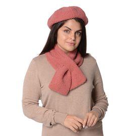 2 Piece Set - Faux Fur Winter Scarf (Size 13x92 Cm) and Hat (Size 56 Cm) - Pink
