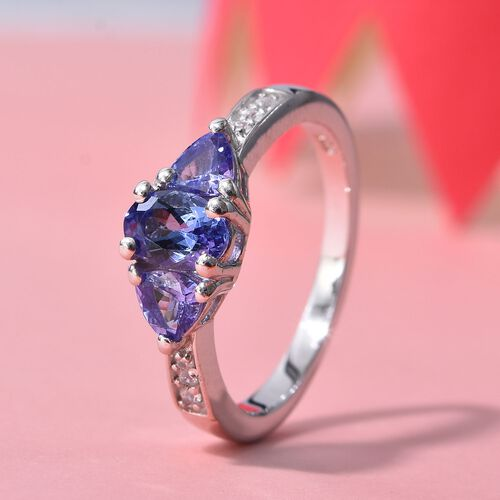 AA Tanzanite (Ovl and Trl), Natural Cambodian Zircon Ring in Platinum Overlay Sterling Silver