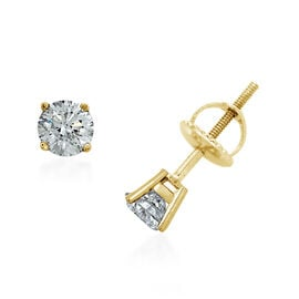 New York Close Out- 14K Yellow Gold EGL Certified Diamond (Rnd) (I1-I2/G-H) Earrings (with Screw Back) 0.500 Ct.