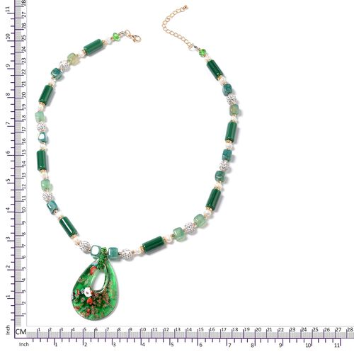 Murano Style Glass (Pear),Ceramic, Green Agate, Fresh Water White Pearl, Simulated Emerald, White Austrian Crystal and Multi Colour Beads Necklace (Size 26 with 3 inch Extender) in Yellow Bond