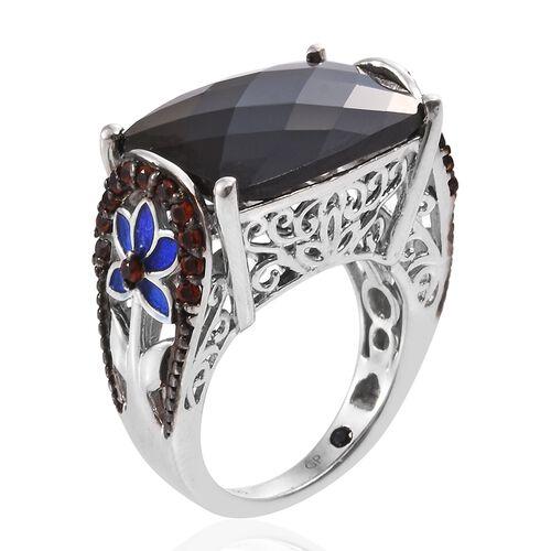 GP Boi Ploi Black Spinel (Cush), Mozambique Garnet and Kanchanaburi Blue Sapphire Ring in Platinum Overlay Sterling Silver 16.500 Ct.