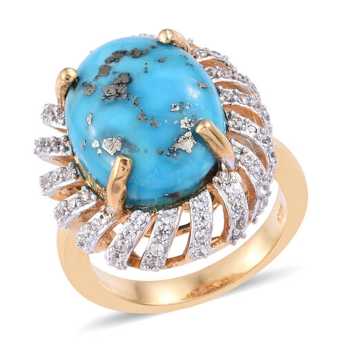9.75 Ct Persian Turquoise and Cambodian Zircon Ring in Gold Plated Sterling Silver 5.40 Grams