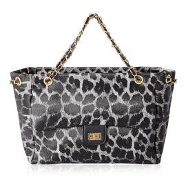 New Season Chic Black and White Colour Leopard Pattern Tote Bag (Size 31x23.5x8 Cm)