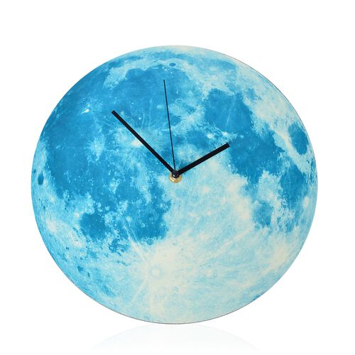 Glow In The Dark - Full Moon Wall Clock Blue  (Size 30 Cm)