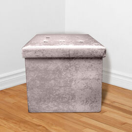 Lesser and Pavey Velvet Folding Storage Ottoman Box in Ash Grey (Size 35x35x37 cm)