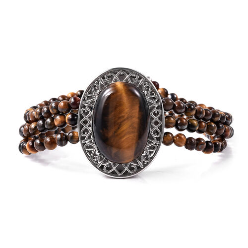 70 Ct Yellow Tiger Eye Beaded Bracelet with Magnetic Clip in Stainless Steel 7.5 Inch