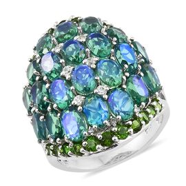 Peacock Quartz (Ovl), Russian Diopside and Natural Cambodian Zircon Cluster Ring in Platinum Overlay Sterling Silver 15.000 Ct. Silver wt 7.80 Gms.