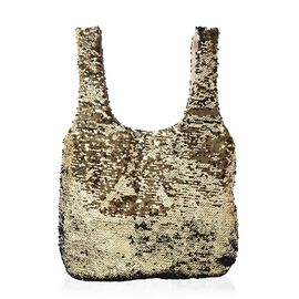Black and Golden Sequin Shopping Bag with Magnetic Closure (Size 40x33.5 Cm)