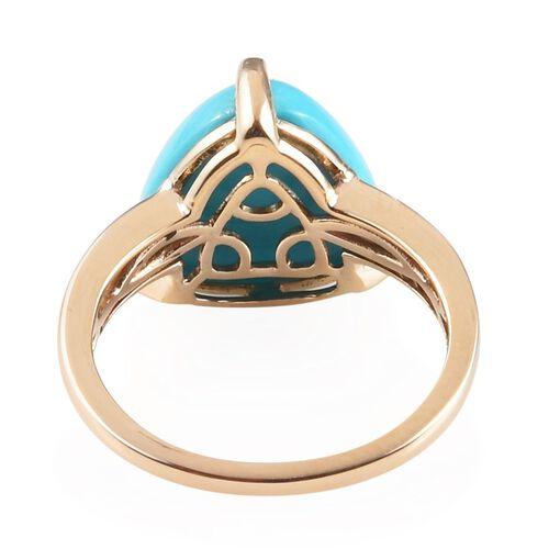 9K Yellow Gold AAA Arizona Sleeping Beauty Turquoise (Trl), Diamond Ring 5.50 Ct.