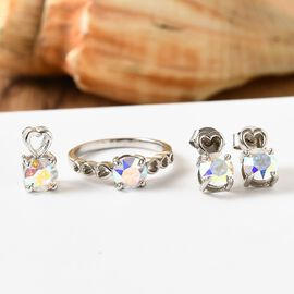 J Francis 3 Piece Set -  Crystal from Swarovski AB Colour Crystal Solitaire Ring, Pendant and Stud Earrings (with Push Back) in Sterling Silver