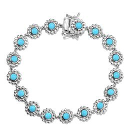Arizona Sleeping Beauty Turquoise Floral Link Bracelet in Platinum Plated Sterling Silver 7.5 Inch
