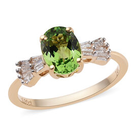 14K Yellow Gold AAA Tsavorite Garnet (Ovl), Diamond Ring 1.43 Ct.