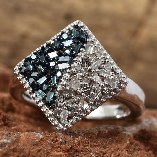 Blue and White Diamond (Bgt) Square Ring in Platinum and Blue Overlay Sterling Silver 0.330 Ct.