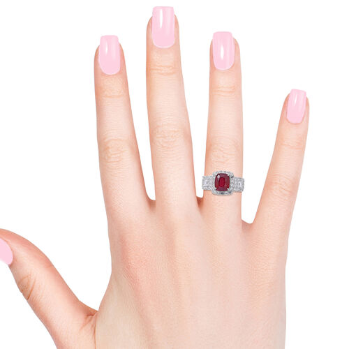 African Ruby (Cush 6.50 Ct), White Topaz Ring in Rhodium Plated Sterling Silver 9.350 Ct. Silver wt 5.53 Gms.