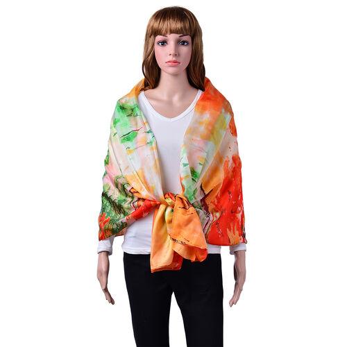 100% Mulberry Silk Green, Orange and Multi Colour Scarf (Size 170x110 Cm)