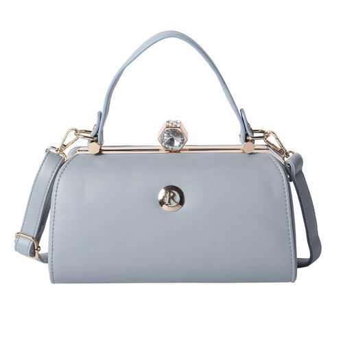 BOUTIQUE COLLECTION Grey Colour Clutch Bag with Detachable and Adjustable Shoulder Strap with Crysta