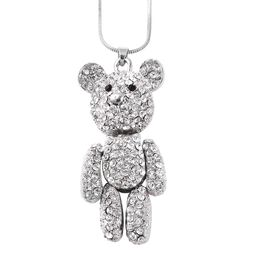 White and Black Austrian Crystal Teddy Bear Pendant with Chain in Silver Tone